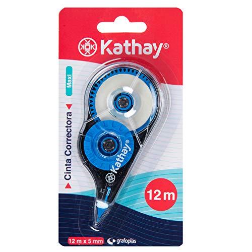 Kathay 86028899 Korrekturband, Maxi, 5 mm x 12 m, zufällige Farben: Gelb, Grün und Blau, schnell trocknend