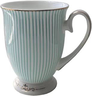 LESCA TEK Creative Fashion England Royal Fine Bone China Gold-plated Light Blue Stripe Coffee Cup Tea Cup Golden Edge and Gilded Mocha Cup in Gift Box