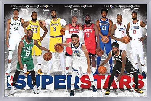 Trends International NBA League - Superstars 2019 Wall Poster, 22.375' x 34', Silver Framed Version