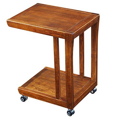 MEIDUO Étagères Table basse de table de bout de table d'extrémité de Tableau latéral avec des étagères de stockage, bibliothèque de 2 rangées sur des roues L50 * W38 * H60 cm très durable