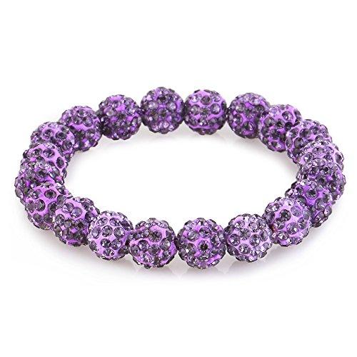 Morella® Damen Armband Perlen mit Zirkoniasteinen elastisch lila