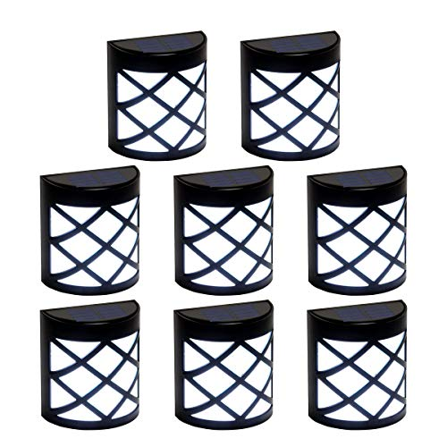 GIGALUMI 8 Pack Solar Fence Lights,6 LED Solar Deck Ligths,Waterproof Automatic Decorative Outdoor Solar Wall Lights for Deck, Patio, Stairs, Yard, Path and Driveway. (Cold White)