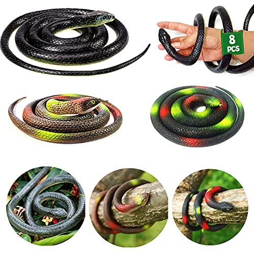 OLJHFG 8 PCS Large Realistic Rubber Snakes Fake Snakes Toy That Look Real Black Mamba Snake for Garden Props to Keep Birds Away and Prank Stuff Halloween Decoration 52 Inches / 32 Inches