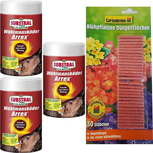hagebauSPN 750g Wühlmausköder Arrex + 30er Gartenkrone Düngestäbchen