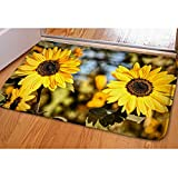 Sunflower Mats and Rugs Non Slip Pretty Decoration Welcome Rugs for Kitchen Bathroom Living Room Home Decor