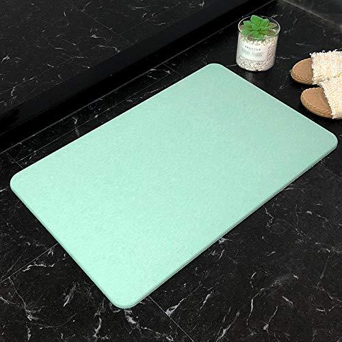 njiul Saugfähige und schnell trocknende Fußmatte aus Kieselgur, rutschfeste Matte für die Badezimmertür, Teppichmatte aus natürlichem Kieselgur-Grün_39x60cm