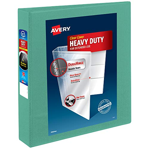 Avery Heavy-Duty 3 Ring Binder, 1.5 Inch Slant Rings, Mint View Binder (79271)