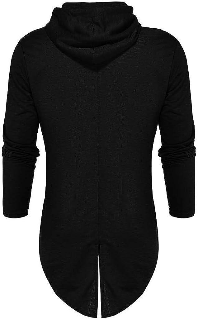 MODOQO Men's Long Cardigan Zipper Hooded Loose Fit Sweatshirts Outwear Jacket Coat
