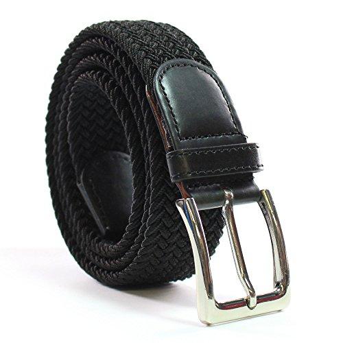 Safekeepers La Ceinture Élastique - Belt Tressée - Tissu Homme et Femme – Unisex – Haut Comfort Extensible, Noir, Taille: 125 cm / 140 cm