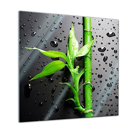 Glasbild - Frischer Bambus II - 20x20 cm - Deko Glas - Wandbild aus Glas - Bild auf Glas - Moderne Glasbilder - Glasfoto - Echtglas - kein Acryl - Handmade