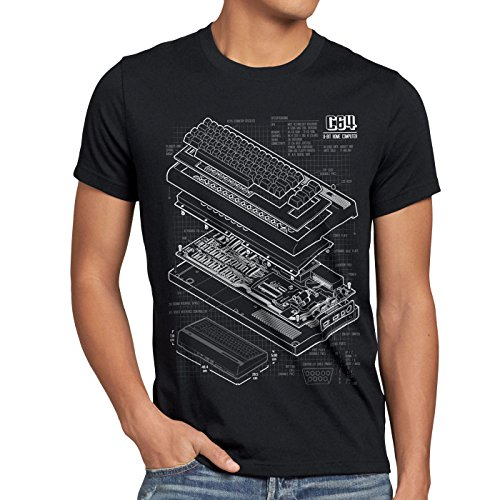 style3 C64 Home Computer Blueprint Men's T-Shirt Classic Gamer, Size:XL, Color:Black