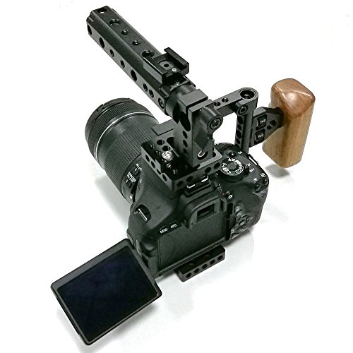 CAMVATE DSLR Camera with Cage Top Handle Wood Grip for 600D 70D 80D