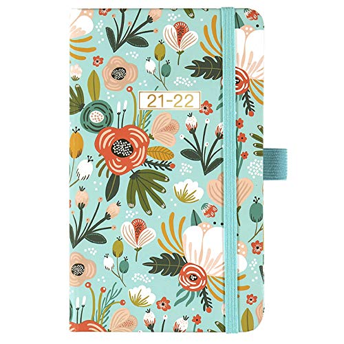 2021-2022 Pocket Calendar - 2021-2022 Weekly & Monthly Pocket Planner, Jul. 2021 - Jun. 2022, 6.3' x 3.8', Colorful Cover with Pen Holder, Inner Pocket, Note Pages, Elastic Closure, Monthly Tabs