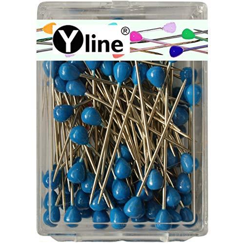 100 Stück Tapezierstecker mit Kunststoffkopf blau ca. 60 mm, Schmuck- Nadeln Stecknadeln groß, 0717-BL