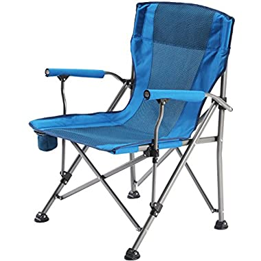 Camp Solutions Folding Chair Mesh Back with Cup Holder, Breathable Portable Oversize Heavy Duty, Supports 225 lbs