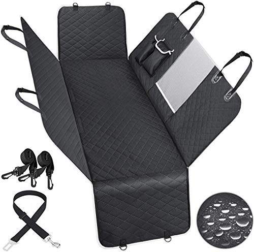 Dog Seat Cover Back Protector Car Hammock for Pets - Waterproof Scratchproof Soft Durable 600D Duty Oxford Cover with Mesh Window Safety Leash, Against Dirt and Fur for Cars Trucks & SUVs Backseat