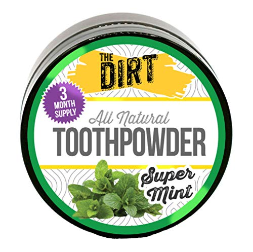 The Dirt All Natural Tooth Powder | Gluten Free, Natural Teeth Whitening with Essential Oils No Added Sweeteners, Artificial Flavors or Colors, Fluoride Free | Super Mint | 3 Month Supply