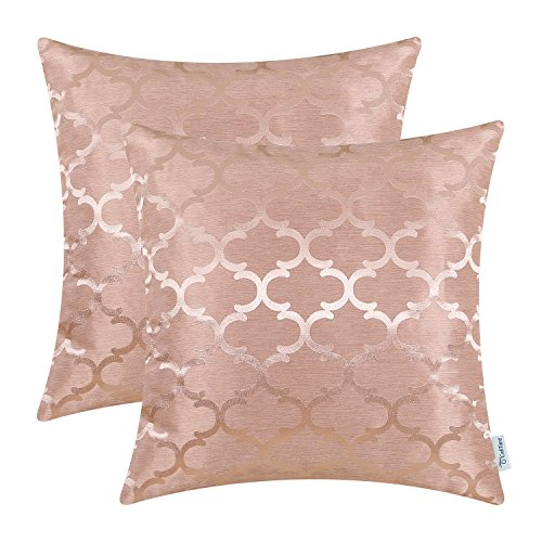 CaliTime Kissenbezüge Kissenhülle 2er-Pack Wurfkissenbezüge Schalen für Heim-Sofa-Couch Modernes Glänzen & Dull Contrast Vierpass Akzent Geometric 40cm x 40cm Dusty Pink