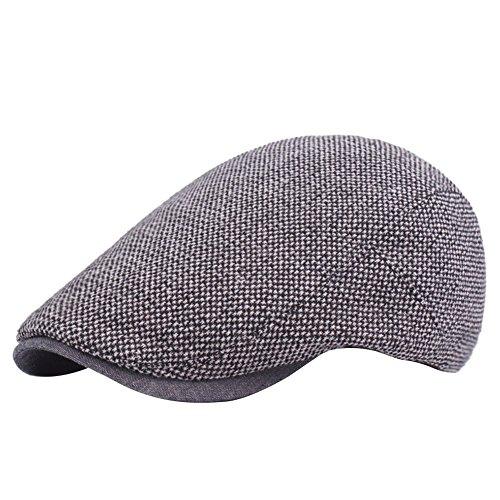 Demarkt Herren Baskenmütze Schirmmütze Schiebermütze Schlägermütze aus Baumwolle Hutumfang von 58cm Grau