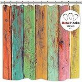 Cdcurtain Farbigem Streifen Duschvorhang Kostenlose Metall Haken 12Stück grün Gelb Rot Holz Rainbow Vertikal Wood Planks Decor Stoff Badezimmer Set 182,9x 182,9cm