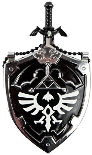 Anyblades.com Mini Dark Hylian Shield & Links Master Sword Legend of Zelda Necklace