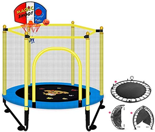 YIHGJJYP Mini Trampoline Set with Padding Garden Mangetal portable children's spring bed outdoors household protective net Safe and durable Improved version blue