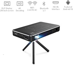Portable Projector, 4K Ultra HD Mini Smart WiFi DLP Android Video Projector 150 ANSI Lumen with Wireless/USB/HD-IN/2GB RAM/ 32G Storage, Support 1080P 4K Movie, for Outdoor/Home Cinema Entertain