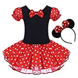Toddler Girl Polka Dots Party Fancy Costume Birthday Tutu Dress up Dance Leotard Gymnastic Cosplay Gown w/ Mouse Ear Headband Red 3-4 Years