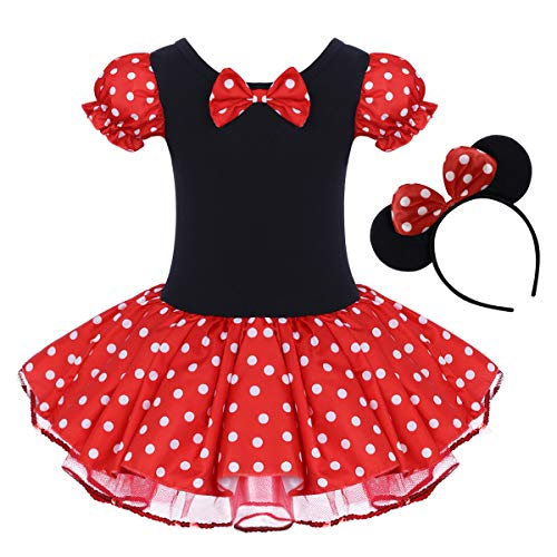 Toddler Girl Polka Dots Party Fancy Costume Birthday Tutu Dress up Dance Leotard Gymnastic Cosplay Gown w/Mouse Ear Headband Red 2-3 Years