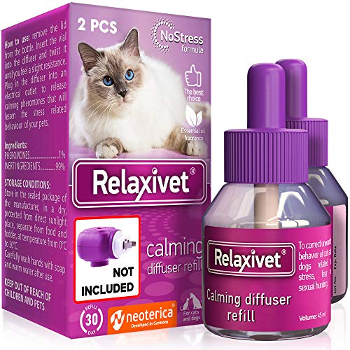 Relaxivet Natural Cats&Dogs Calming Pheromone Diffuser Refills - Improved No-Stress Formula - Anti-Anxiety Treatment #1 for Cats with a Long-Lasting Calming Effect (2 Refill (Diffuser not Include)