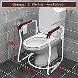 Greensen Toilettengestell Toiletten Aufstehhilfe Sichere WC Stützhilfe Rutschfest Sicherheitsgestelle Badezimmer WC Aufstehhilfe mit Holz Haltegriff Toilettenstützstange für Senioren und Deaktiviert - 8