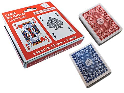 LEDLUX 2 Mazzi Carte da Gioco Poker Plastificate, Giochi da Tavolo (Internazionale)