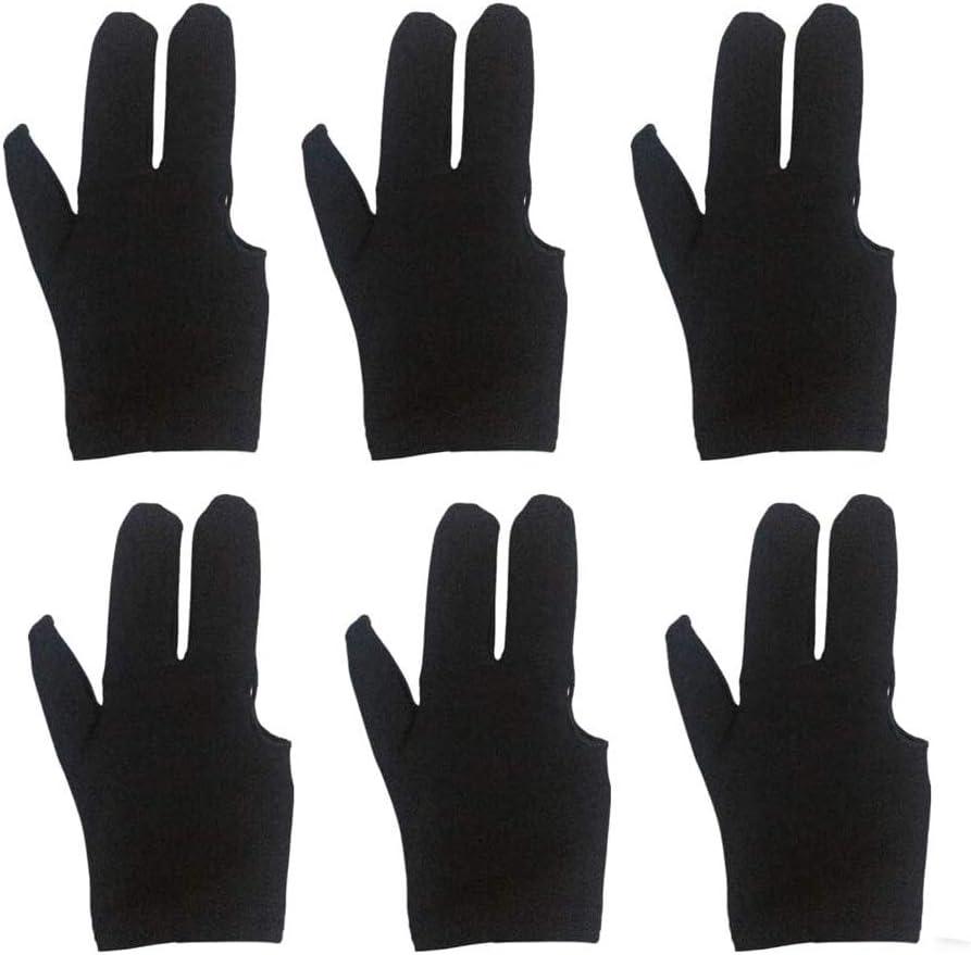 6pcs 3 Finger Billiards Glove Pool Import Sh Gloves Black Popular brand in the world Fingers Cue