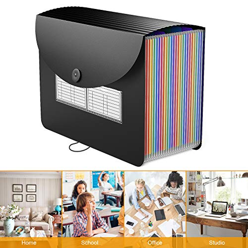 24 Pockets Expanding File Folder/Accordian File Organizer with Expandable Cover/Portable A4 Letter Size File Box,High Capacity Plastic Colored Paper Document Receipt Organizer Filing Folder Organizer Photo #7