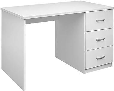 Sbrico Escritorio - Mesa de Trabajo o Estudio con 3 Cajones, de Melamina Alto Gramaje Color Blanco y Fácil Montaje, Dimension