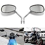 10MM Chrome Motorcycle Handlebar Rearview Side Mirrors For Honda Kawasaki Suzuki Cruiser Scooter (Chrome)