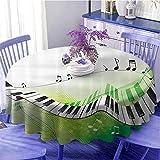 UETECH Dinning Tabletop Decoration Round Tablecloth Music Decor Music Piano Keys Curvy Fingerboard Summertime Entertainment Flourish Diameter 54'