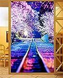DIY 5D Pintura de Diamante Bordado Grande Completo paisaje nocturno de tren de flor de cerezo Diamond Painting Rhinestone Punto de Cruz Lienzo Diamante Arte Decor del hogar (70x140cm,28x56inch)