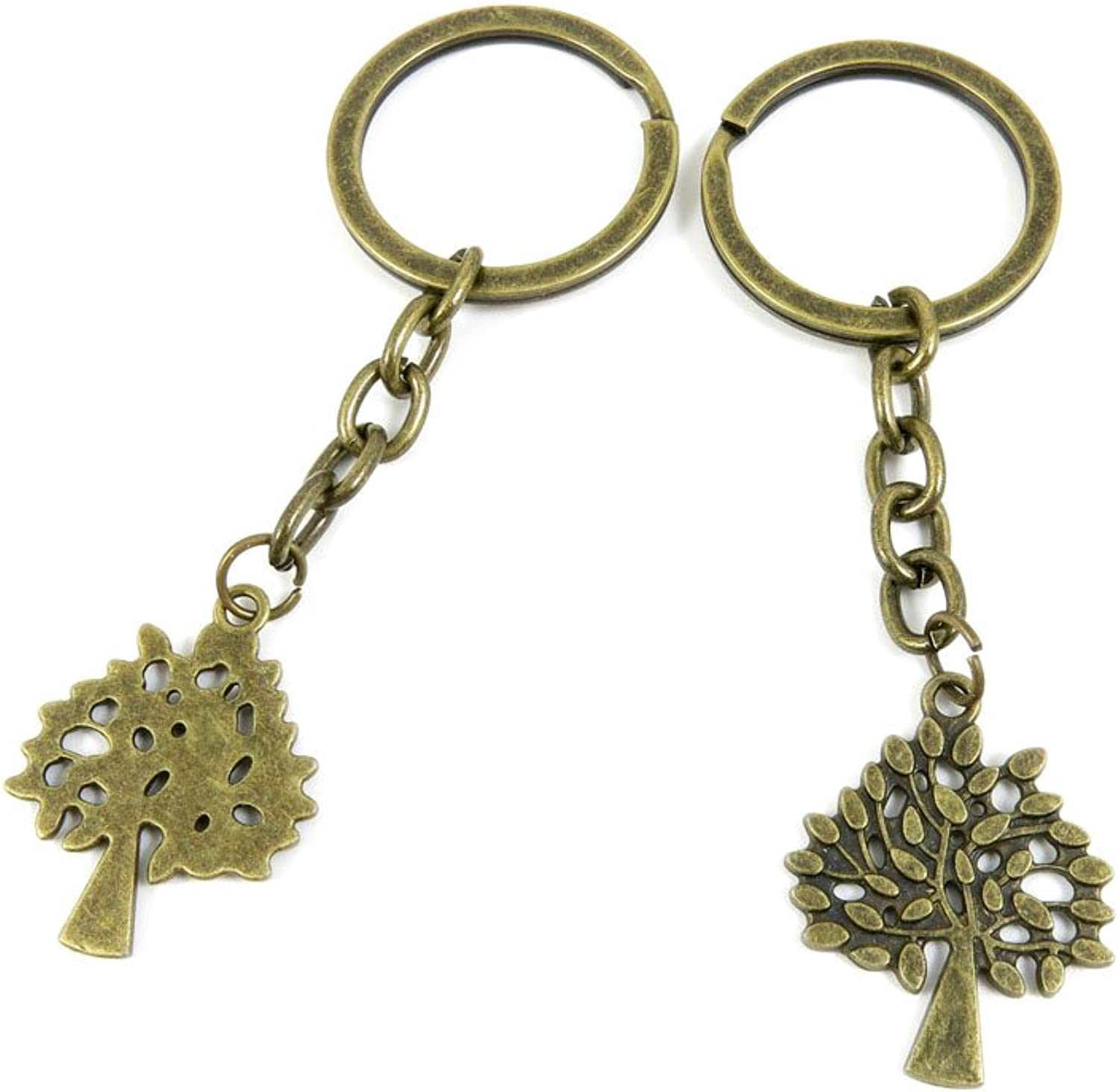 100 PCS Keyrings Keychains Key Ring Chains Tags Jewelry Findings Clasps Buckles Supplies T7GR2 Tree Oak