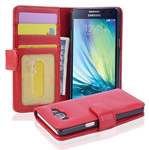 Cadorabo Custodia Libro per Samsung Galaxy A5 2015 in ROSSO CREMISI - con 3 Vani di Carte e Chiusura Magnetica - Portafoglio Cover Case Wallet Book Etui Protezione