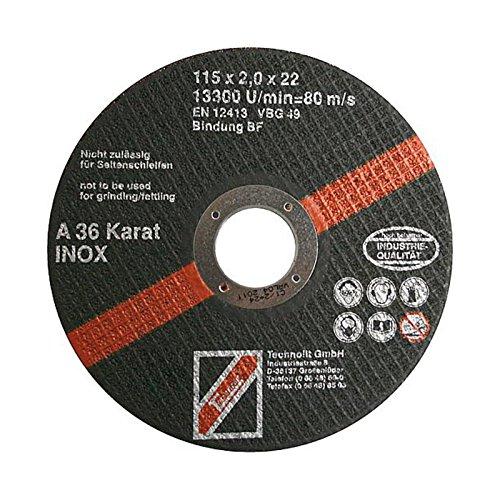 TECHNOLIT Trennscheibe Karat Inox - Flexscheibe für Winkelschleifer, Trennschleifer, 115/125 / 180/230 x 2,0 mm - 1 Stück, Größe:Ø 180 x 2.0 x 22.23 mm