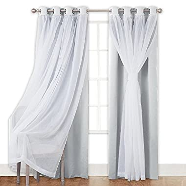 PONY DANCE White Curtains Set Double Layers - Mix & Matce Voile x Blackout Light Block Draperies Panel Extra Bonus Tie-backs Bedroom Windows, 52 x 63 , White, 2 Pieces