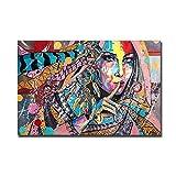 NOBRAND Retrato Colorido De Las Mujeres Pinturas En Lienzo Cartel E Impresiones Pintura Cuadros Decorativos Cuadros Sala De Estar Sofá Decoración De La Pared