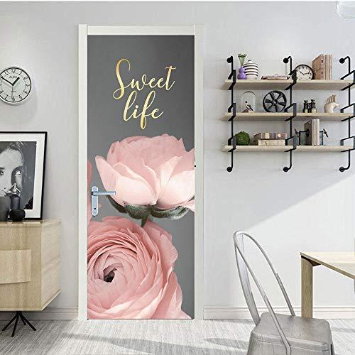 YXYSHX Selbstklebend Pink Rose Simulation Türaufkleber Kleiderschrank Schiebetür Renovierung Aufkleber Kühlschrank Aufkleber wasserdichte Selbstklebende Wandaufkleber