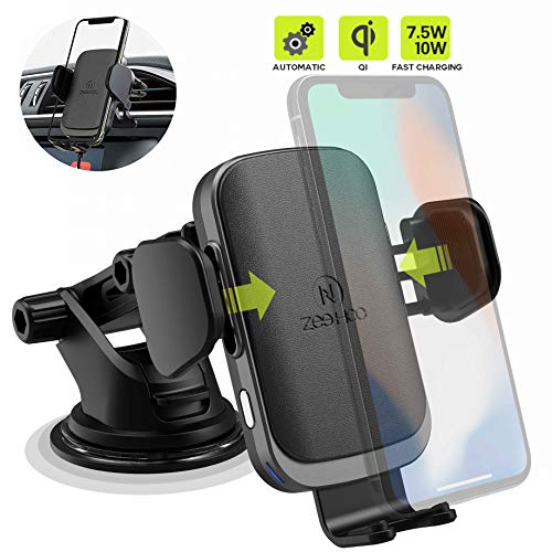 ZeeHoo Wireless Car Charger Mount with USB-C, 10W 7.5W Auto-Clamp Fast Wireless Charger Air Vent Phone Holder Compatible iPhone 11,11 Pro,11 Pro Max,XS Max,XS,XR,X, Galaxy S10 S9 S8,Note 10 Note 9