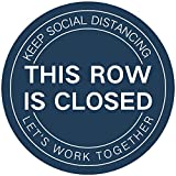 This Row is Closed Floor Sign Sticker 12' Social Distancing Floor Decal Waterproof Anti-Slip Removable Sign Commercial Grade Sign for Church Business Public 10 PCS