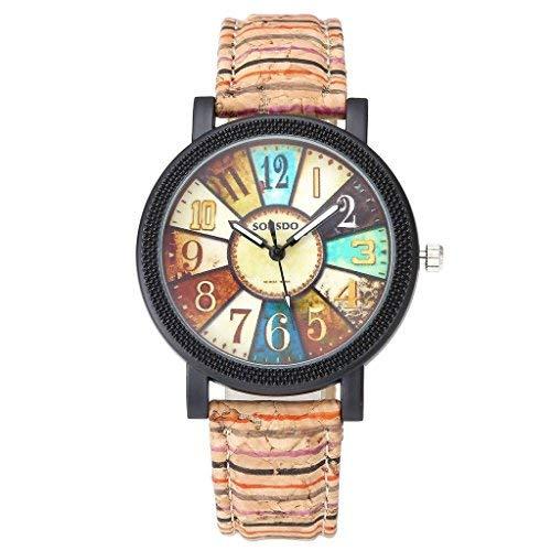 JSDDE Uhren,Damen Retro Stil Farbig Streifen Armbanduhr Holz Kork Muster PU Lederband Analog Quarzuhr