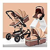 Baby Stroller 3 in 1 Travel System Stroller Buggy with Infant Car Seat, High Landscape Anti-Shock Baby Child Pushchair with 5-Point Harness, Including Rain Cover (Color : Khaki)