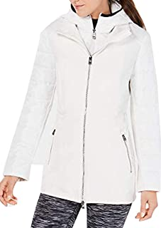 Calvin Klein Womens Performance Plus Size Quilted Hooded Jacket Color White Size