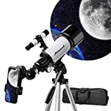 Telescope 70mm Travel Scope 500mm AZ Mount, Astronomical Refractor Telescope Aperture for Kids Adults & Beginners, Fully Multi-Coated Optics,Portable Refractor Travel Scope with Tripod, Phone Adapter